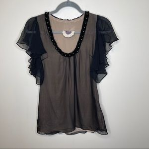 Anthropologie By Francine Chiffon Beaded Blouse